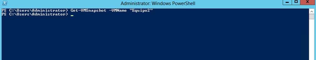 Ilustración 33 – Módulo de PowerShell para Hyper-V en Windows Server 2012. Eliminación de Snapshots en Equipos Virtuales.