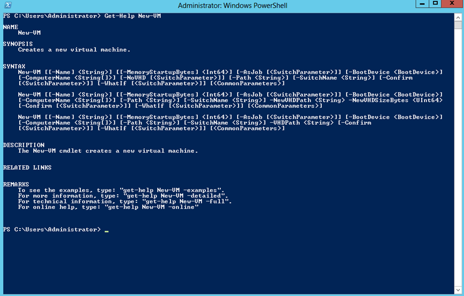 Ilustración 4 – Windows PowerShell para Administrar Hyper-V en Windows Server 2012. Acceso a ayuda de commandos.
