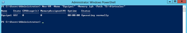 Ilustración 5 – Módulo de PowerShell para Hyper-V en Windows Server 2012. Creación de Equipo Virtual mediante New-VM.