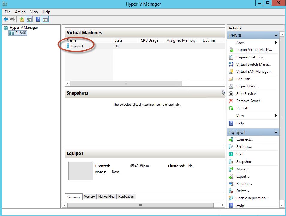 Ilustración 6 – Módulo de PowerShell para Hyper-V en Windows Server 2012. Creación de Equipo Virtual mediante New-VM.