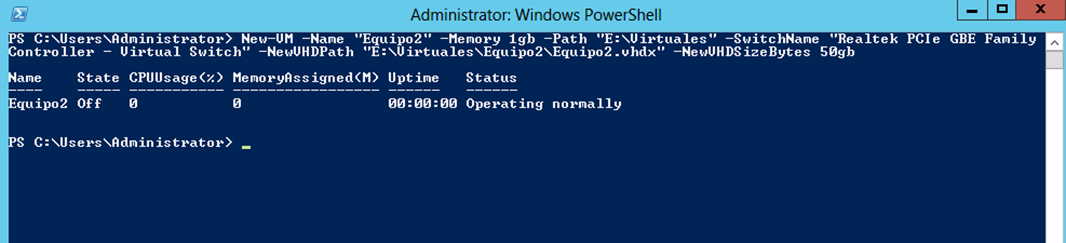 Ilustración 9 – Módulo de PowerShell para Hyper-V en Windows Server 2012. Creación de Equipo Virtual mediante New-VM.