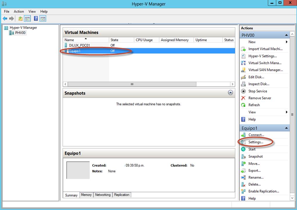 Ilustración 13 – Hyper-V Manager en Windows Server 2012. Modificación (edición) de un equipo virtual.
