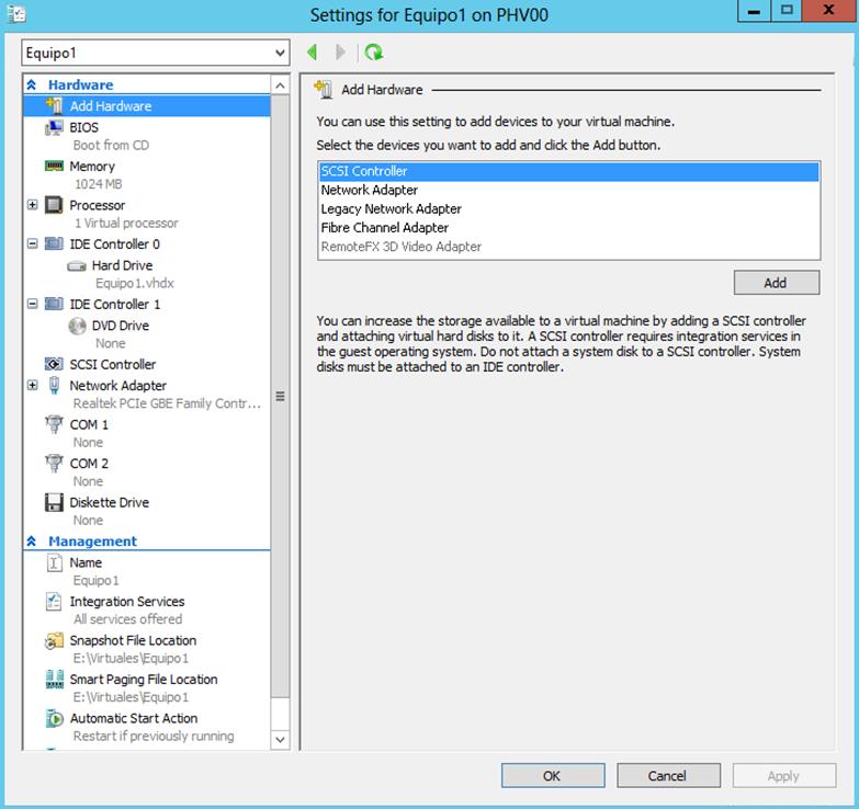 Ilustración 14 – Hyper-V Manager en Windows Server 2012. Modificación (edición) de un equipo virtual.