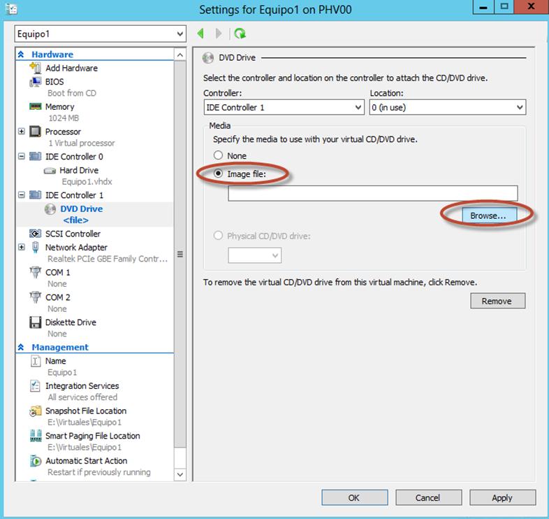 Ilustración 15 – Hyper-V Manager en Windows Server 2012. Modificación (edición) de un equipo virtual: modificación de DVD Drive.