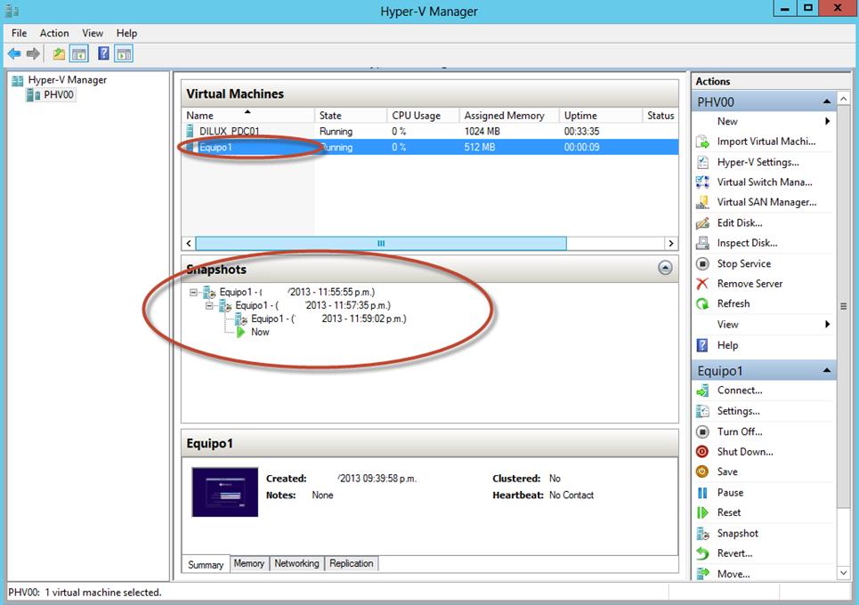 Ilustración 28 – Hyper-V Manager en Windows Server 2012. Snapshot de un Equipo Virtual: rollback y aplicación de una foto (snapshot) anterior.