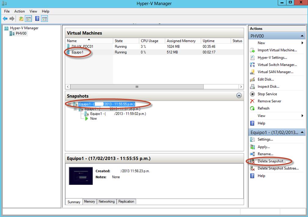 Ilustración 29 – Hyper-V Manager en Windows Server 2012. Snapshot de un Equipo Virtual: eliminación.