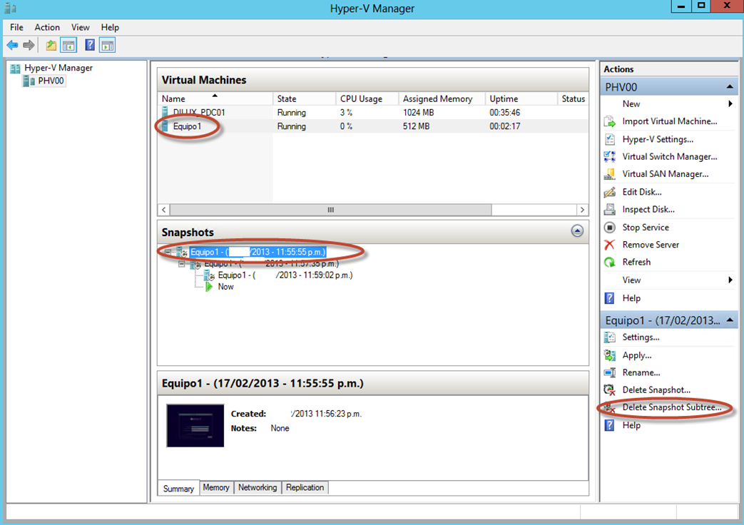 Ilustración 30 – Hyper-V Manager en Windows Server 2012. Snapshot de un Equipo Virtual: eliminación.