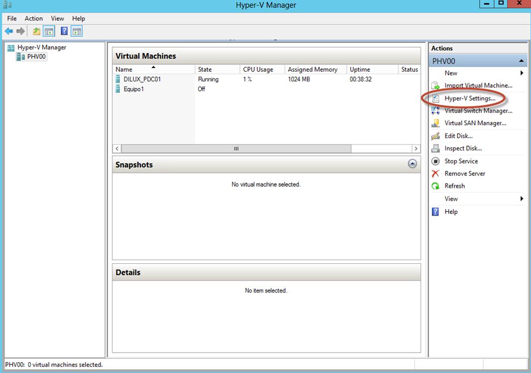 Ilustración 31 – Hyper-V Manager en Windows Server 2012. Opciones generales de Hyper-V.