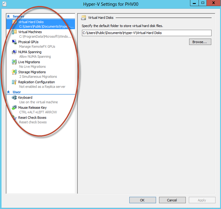 Ilustración 32 – Hyper-V Manager en Windows Server 2012. Opciones generales de Hyper-V.