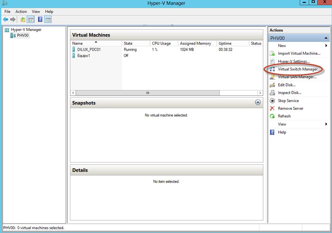 Ilustración 33 – Hyper-V Manager en Windows Server 2012. Opciones generales del Virtual Switch.