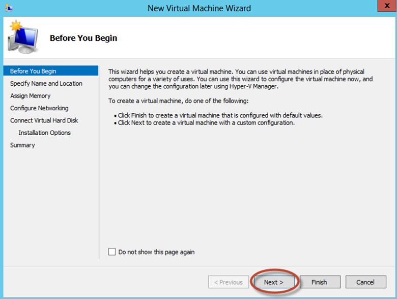 Ilustración 4 – Hyper-V Manager en Windows Server 2012. Creación de un equipo virtual.