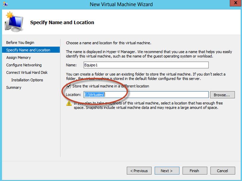 Ilustración 6 – Hyper-V Manager en Windows Server 2012. Creación de un equipo virtual.