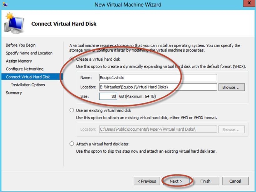 Ilustración 9 – Hyper-V Manager en Windows Server 2012. Creación de un equipo virtual.