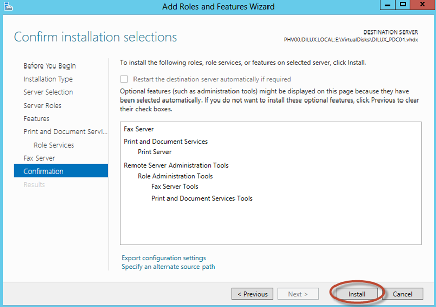 Ilustración 10 – Asistente para Agregar Roles o Características de Windows Server 2012: selección de roles y características disponibles para la instalación (offline servicing).