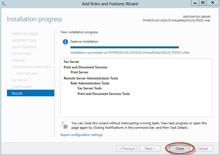 Ilustración 12 – Asistente para Agregar Roles o Características de Windows Server 2012: instalacio´n de rol mediante la funcionalidad offline servicing.