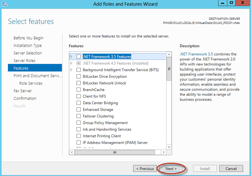 Ilustración 8 – Asistente para Agregar Roles o Características de Windows Server 2012: selección de roles y características disponibles para la instalación (offline servicing).