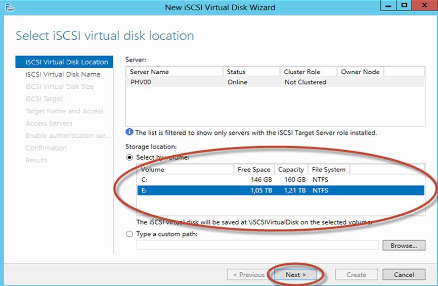 Ilustración 10 – Server Manager para administrar iSCSI Target Server. Creación de iSCSI Virtual Disk y Target.