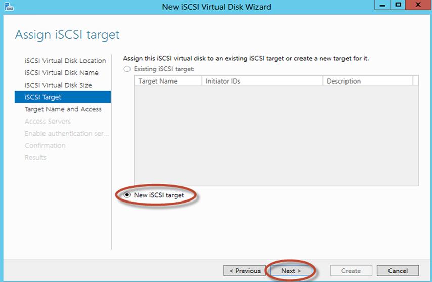 Ilustración 13 – Server Manager para administrar iSCSI Target Server. Creación de iSCSI Virtual Disk y Target.