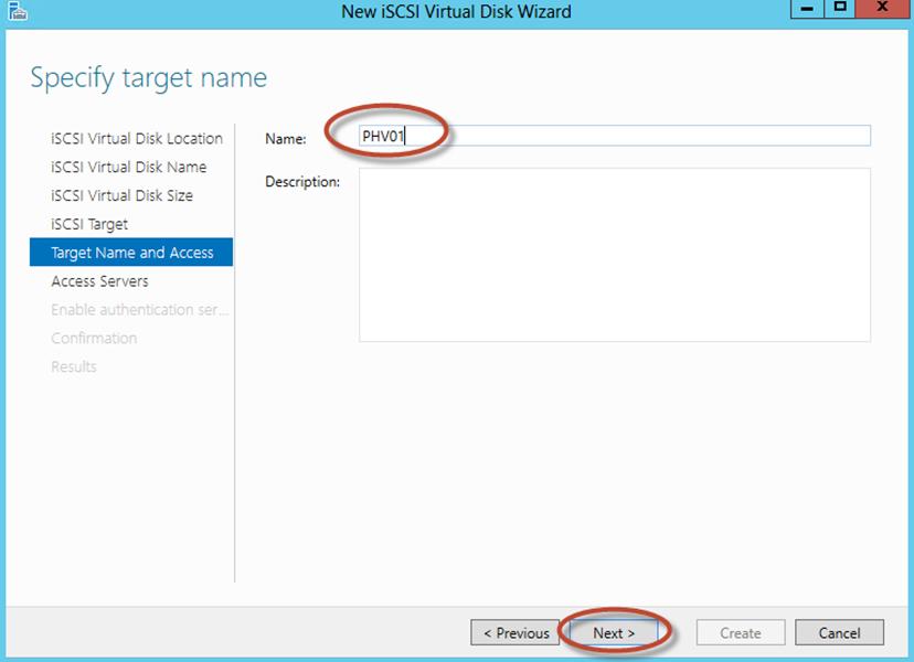 Ilustración 14 – Server Manager para administrar iSCSI Target Server. Creación de iSCSI Virtual Disk y Target.