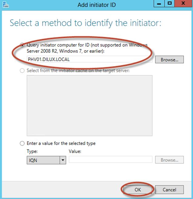 Ilustración 15 – Server Manager para administrar iSCSI Target Server. Creación de iSCSI Virtual Disk y Target.