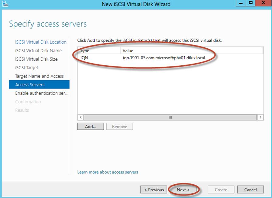 Ilustración 16 – Server Manager para administrar iSCSI Target Server. Creación de iSCSI Virtual Disk y Target.