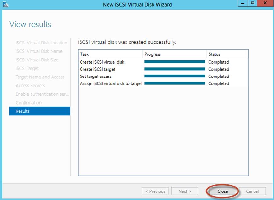 Ilustración 19 – Server Manager para administrar iSCSI Target Server. Creación de iSCSI Virtual Disk y Target.