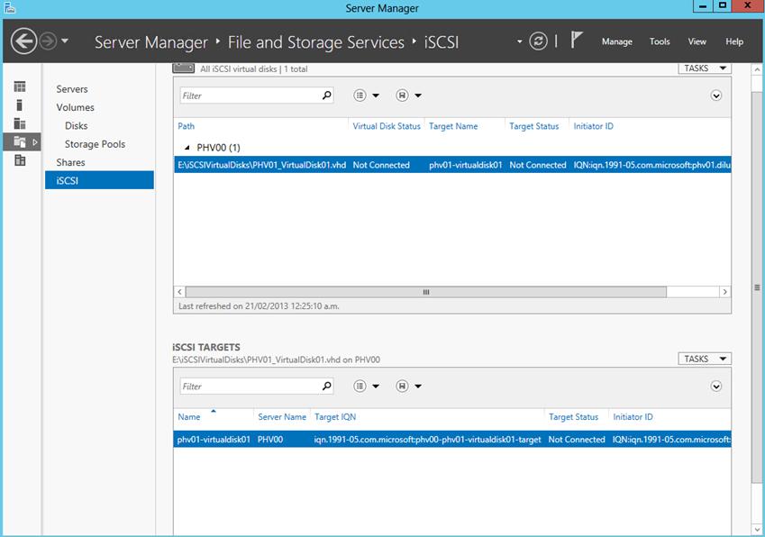 Ilustración 20 – Server Manager para administrar iSCSI Target Server. Creación de iSCSI Virtual Disk y Target.