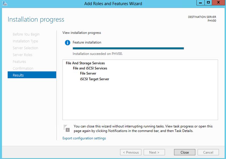 Ilustración 7 – Agregar Roles y Features de Windows Server 2012: Asistente para instalación de iSCSI Target Server.