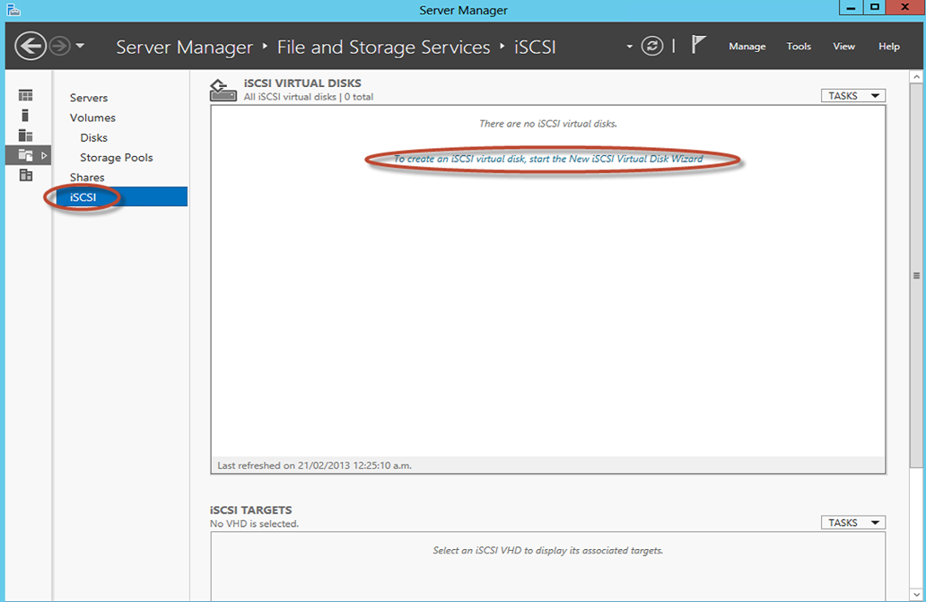 Ilustración 9 – Server Manager para administrar iSCSI Target Server. Creación de iSCSI Virtual Disk y Target.