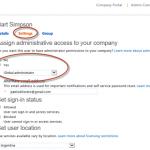 Ilustración 2 – Modificación de opciones de usuarios desde el Portal de Administración para dar permisos de Global Administrator.