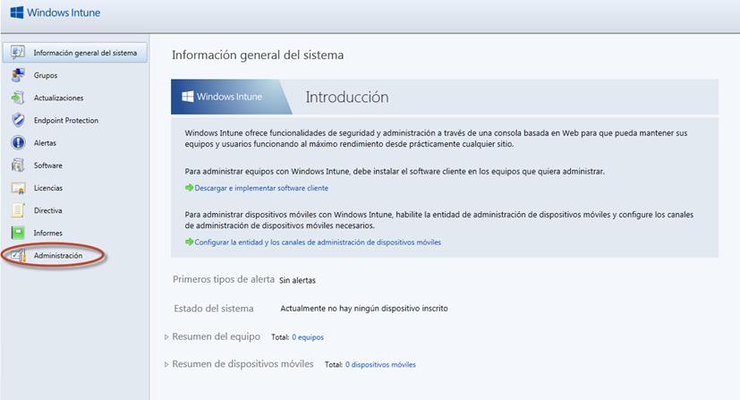 Ilustración 3 – Consola de Administración de Windows Intune: administración de administradores.