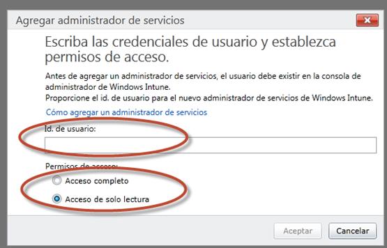 Ilustración 5 – Consola de Administración de Windows Intune: administración de administradores de servicio – Cómo agregar un nuevo administrador de servicio y configurar su nivel de acceso.