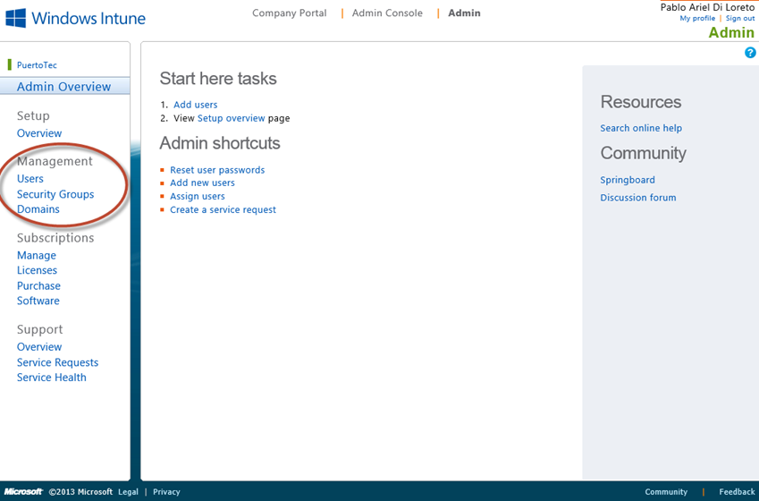 Ilustración 1 - Portal de Administración de Windows Intune. Management de Usuarios.