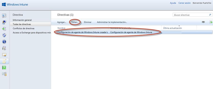 Ilustración 10 - Consola de Administración de Windows Intune. Administración de Directivas de Agente de Windows Intune.