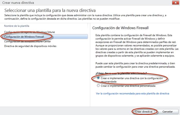 Ilustración 12 - Consola de Administración de Windows Intune. Administración de Directivas de Windows Firewall.