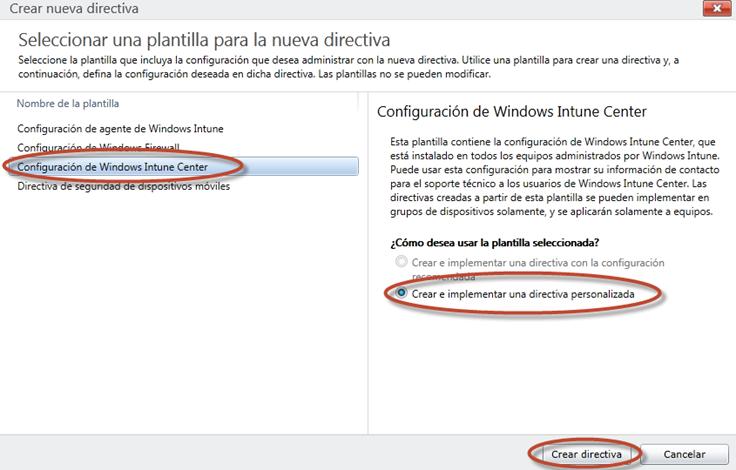 Ilustración 14 - Consola de Administración de Windows Intune. Administración de Directivas de Windows Intune Center.