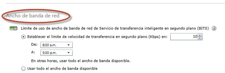 Ilustración 19 - Consola de Administración de Windows Intune. Administración de Directivas de administración de Ancho de Banda.
