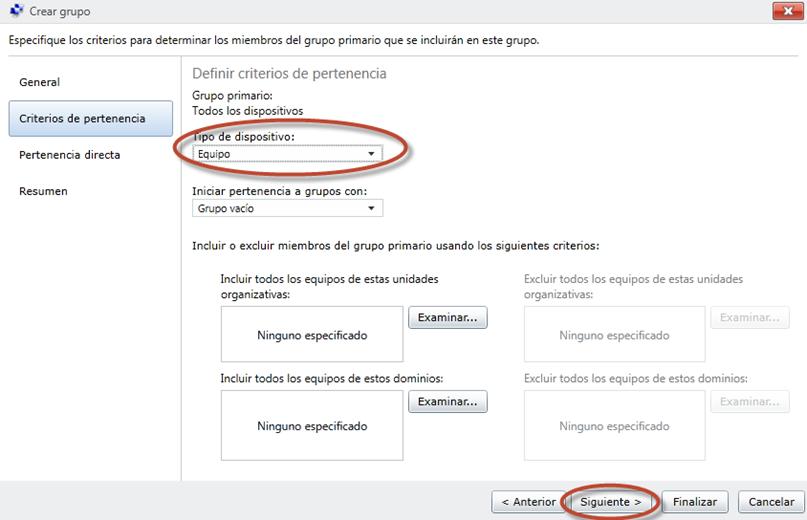 Ilustración 23 - Consola de Administración de Windows Intune. Grupos de Usuarios y Equipos.