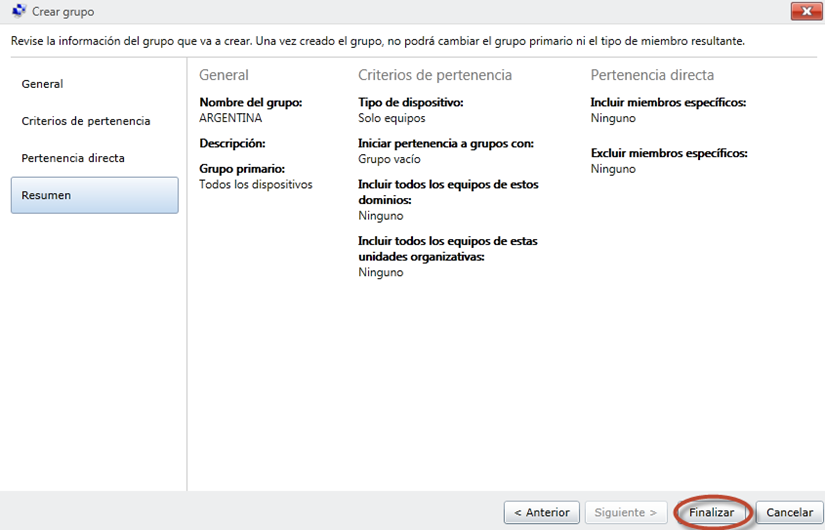 Ilustración 25 - Consola de Administración de Windows Intune. Grupos de Usuarios y Equipos.