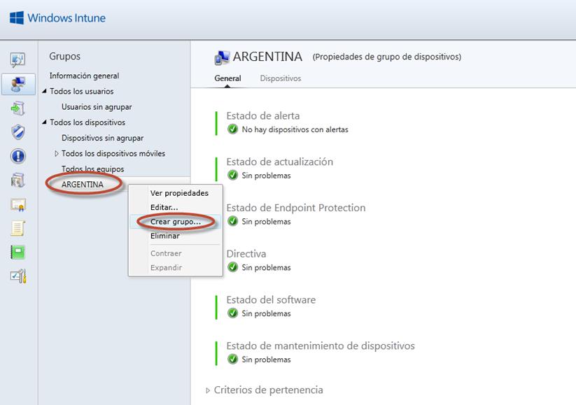 Ilustración 26 - Consola de Administración de Windows Intune. Grupos de Usuarios y Equipos.