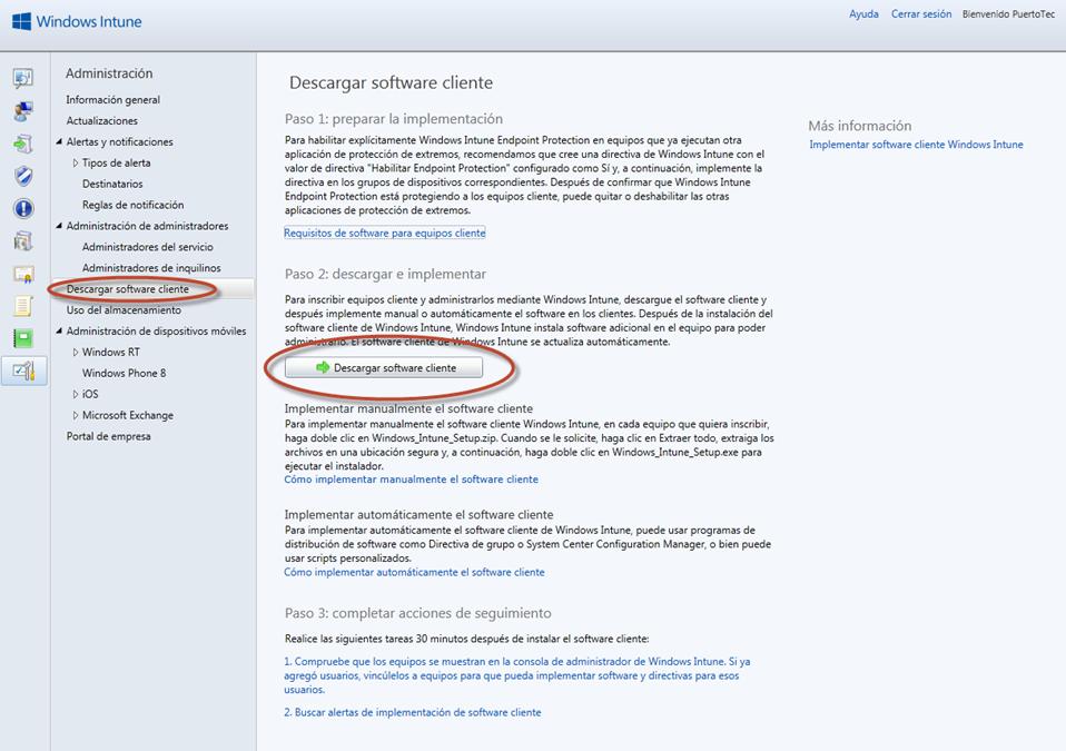 Ilustración 29 - Consola de Administración de Windows Intune. Agregado de Equipos.