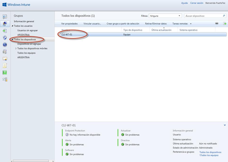 Ilustración 33 - Consola de Administración de Windows Intune. Agregado de Equipos. Instalación de Software por el Administrador.