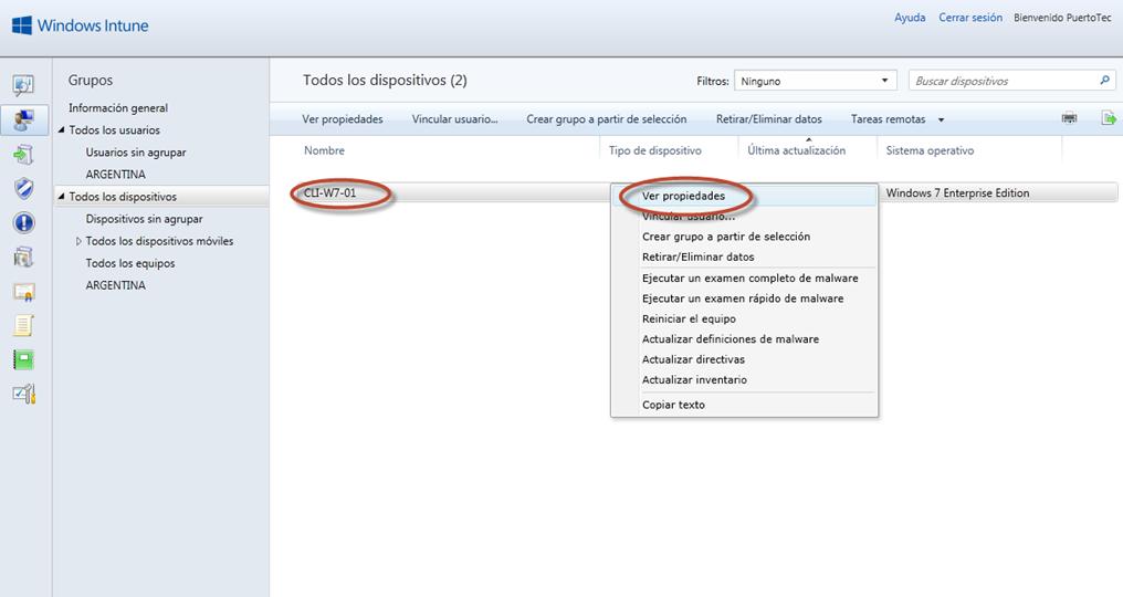 Ilustración 34 - Consola de Administración de Windows Intune. Agregado de Equipos. Instalación de Software por el Administrador.