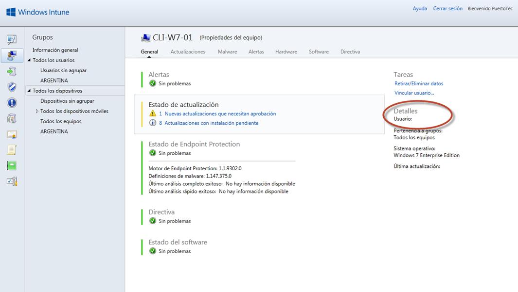 Ilustración 35 - Consola de Administración de Windows Intune. Agregado de Equipos. Vinculación a usuario.