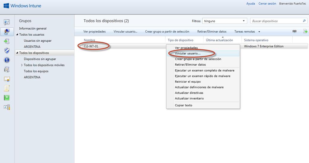 Ilustración 36 - Consola de Administración de Windows Intune. Agregado de Equipos. Vinculación a usuario.