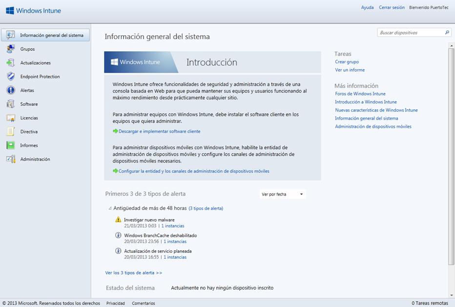 Ilustración 4 - Consola de Administración de Windows Intune.