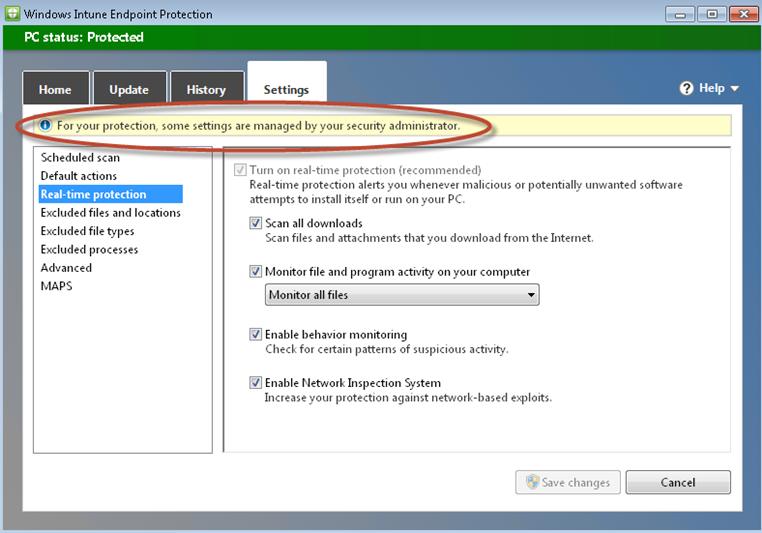 Ilustración 48 - Software cliente de Windows Intune: cambios generados en los equipos clientes. Cambios en Endpoint Protection.