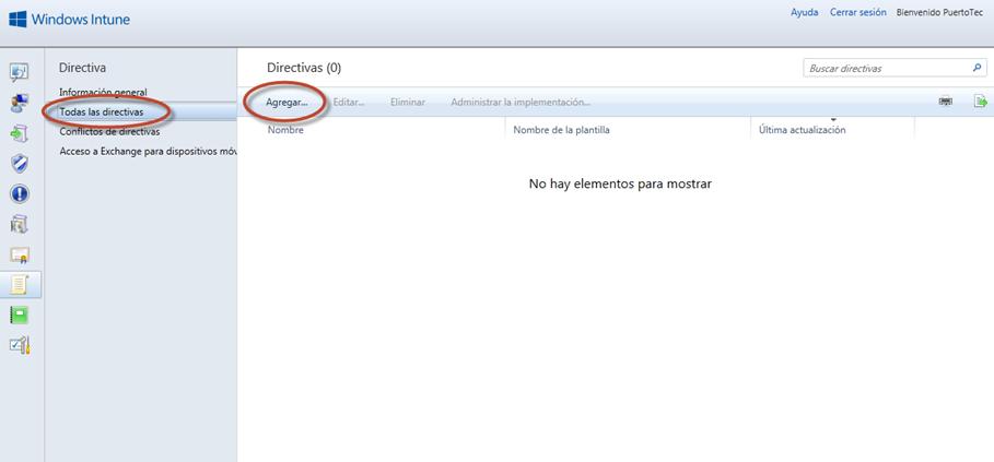 Ilustración 6 - Consola de Administración de Windows Intune. Administración de Directivas (Políticas).