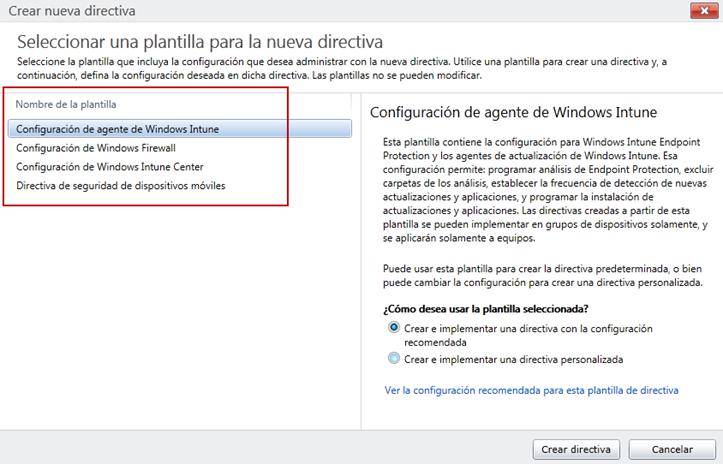 Ilustración 7 - Consola de Administración de Windows Intune. Administración de Directivas (Políticas).