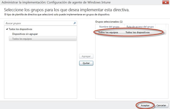 Ilustración 9 - Consola de Administración de Windows Intune. Administración de Directivas de Agente de Windows Intune.